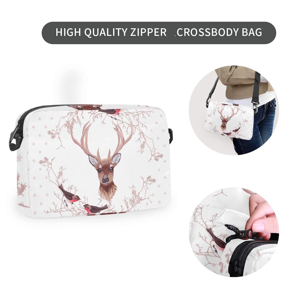 Deer Bird White Shoulder Backpack Messenger Crossbody Laptop Bag Student Bookbags for Kid Girls Boys