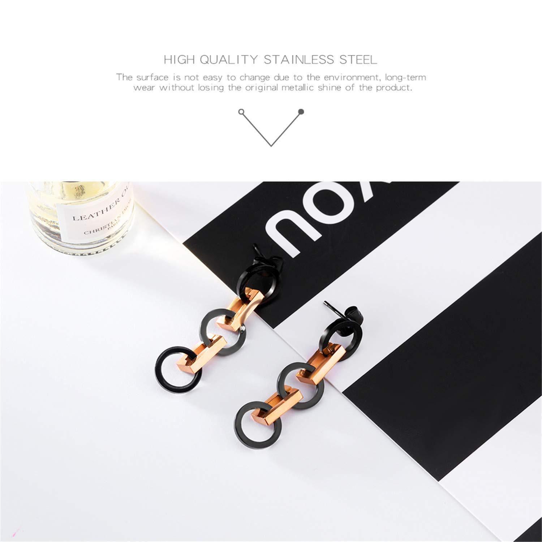 YOUSHU Long Earrings Round Earrings Personality Chain Earrings Japanese and Korean Fashion Temperament Wild Tide Earrings