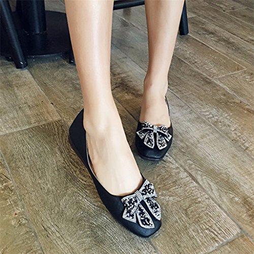 Femmes femme Confortable Taille 35 Chaussures Femelle étudiant Couleur Chaussures Plates Noir Été Noir pour HWF Simples Chaussures AInwxdgq