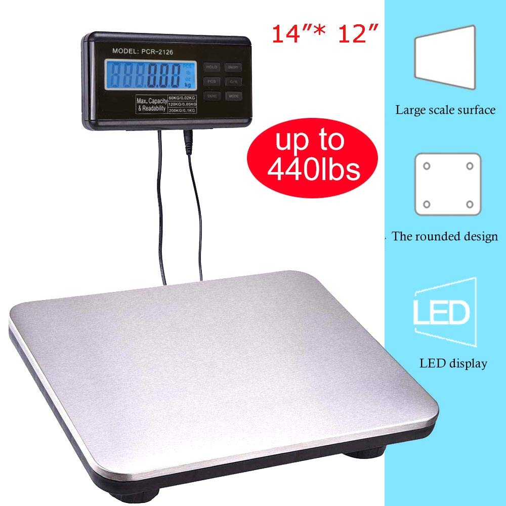 Shipping Scale Heavy Duty Digital for Shipping and Postal W/ 14''X 12'' Durable Stainless Steel Large Platform, 440 lbs Capacity x 1 oz Readability