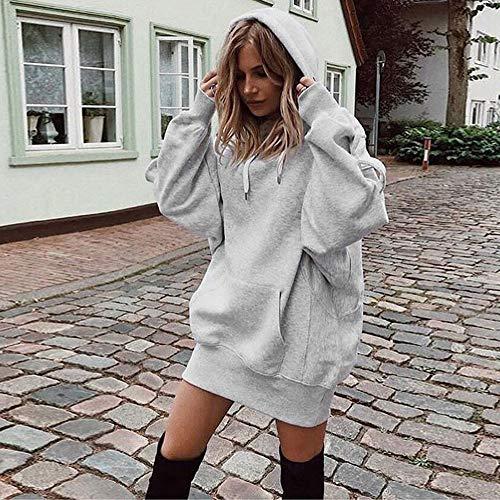 Felpe Tumblr Felpa Unita Camicetta Ragazze Casual Gray Corto Cappuccio Manica Rcool Pullover Donna Tasca Top Tinta con Lunga Elegante con wqpEZC5