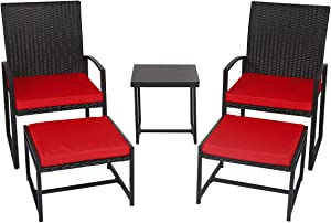 Kinbor 5 Piece Patio Wicker Porch Chairs Outdoor PE Rattan Furniture Set with Cushioned Ottoman and Table