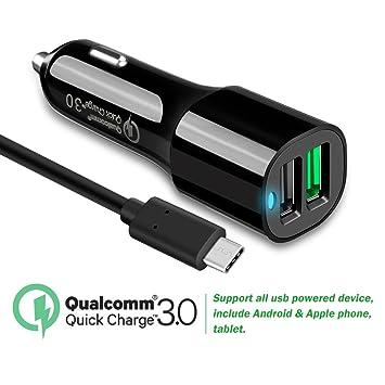 Carga rápida 3.0 Cargador de coche Dual USB Puerto con 5 m ...
