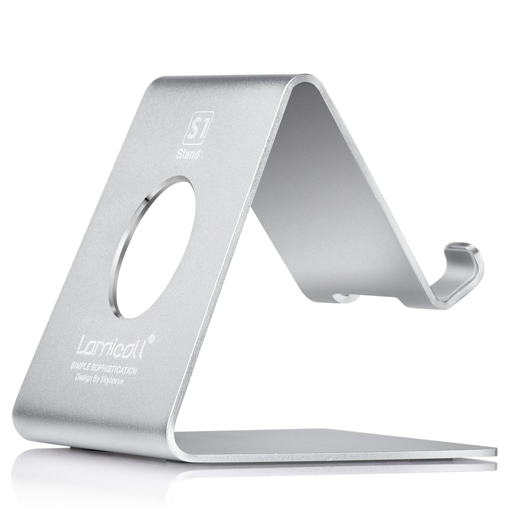 Lamicall Cell Phone Stand, Phone Dock: Cradle Holder Stand Compatible with Switch, All Android Smartphone, Phone 6 6s 7 8 X Plus 5 5s 5c XS Max XR Charging, Accessories Desk - Silver