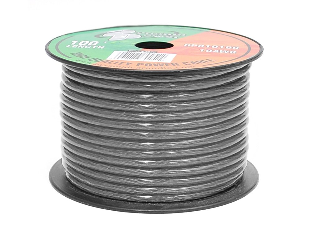 Pyramid RPB10100 Ground Wire 10-Gauge, 100 Feet, Flexible, OFC Cable Wire, Translucent (Black)