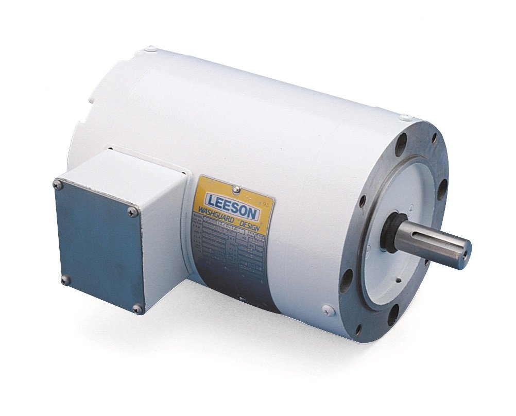 Leeson G121655.00 White Epoxy Painted Washguard Motor, 3 Phase, 145TC Frame, Round Mounting, 1 1/2HP, 1800 RPM, 208-230/460V Voltage, 60/50Hz Fequency