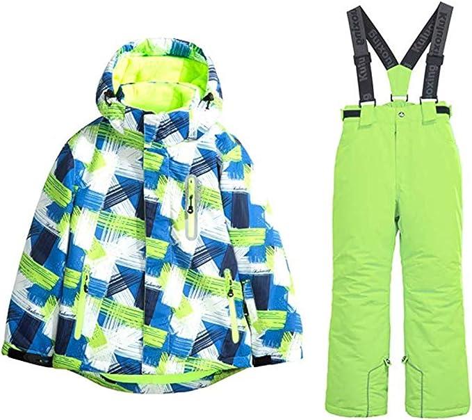 Girls Fashion Waterproof Windproof Ski Jacket Heavyweight 2 Pc Printed Snowsuit with Pants