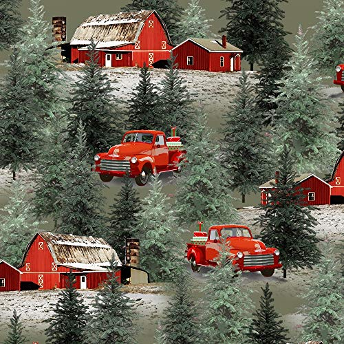 1 Yard Holiday Homestead Christmas Green Trucks & Barn Scene by Jan Shade Beach from Henry Glass 100% Cotton Quilt Fabric 1613-066