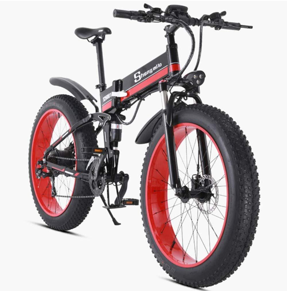 電動自転車折りたたみマウンテンバイク、7速電動自転車48 v 1000 w大人アルミダブル衝撃吸収材26インチタイヤディスクブレーキとフルサスペンションフォーク,赤