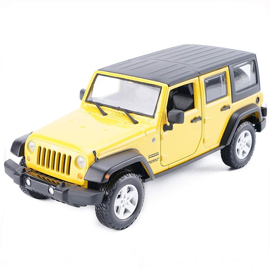Yellow LQQGXLCHEMO Car model Alloy Die Casting Replica Toy Car Mould Scale Car Toy Jeep Wrangler Model 1 24 (color   Green)