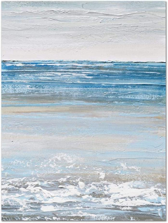 NR Blanco Azul Abstracto Paisaje Marino Lienzo Cuadros Arte de la Pared para la decoración de la Sala de Estar (60x90cm sin Marco)