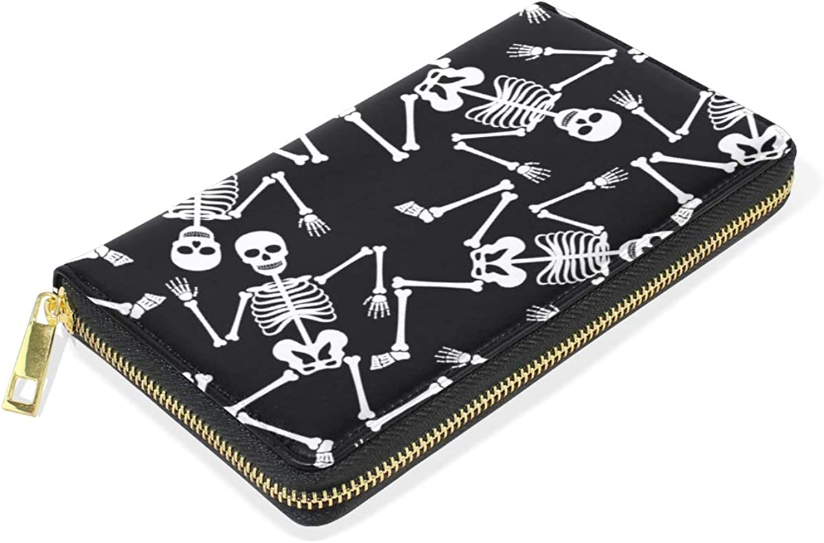 Skeleton Dancing Ghost Skull Wallet for Women Leather Zipper Phone Coin Purse