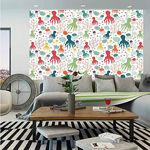 SoSung Octopus Wall Mural,Ocean Themed Animals and Plants Jellyfish Shellfish Colorful Doodle Style Design Decorative,Self-Adhesive Large Wallpaper for Home Decor 83x120 inches,Multicolor