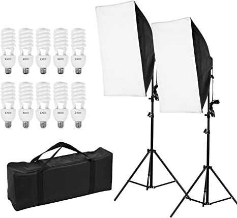 Andoer Kit de Luz Profesional para Fotografía de Estudio Que Incluye Cajas de Luz de 50