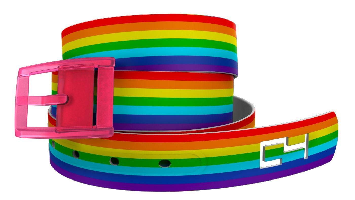 C4 Rainbow Belt: Rainbow Strap/Pink Buckle - Fashion Belt - Waist Belt for Women and Men