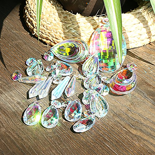 H&D 18pcs Colorful Lamp Prisms Parts with Octagon Bead Chandelier Glass Crystals Hanging Drops Pendants by H&D (Image #3)