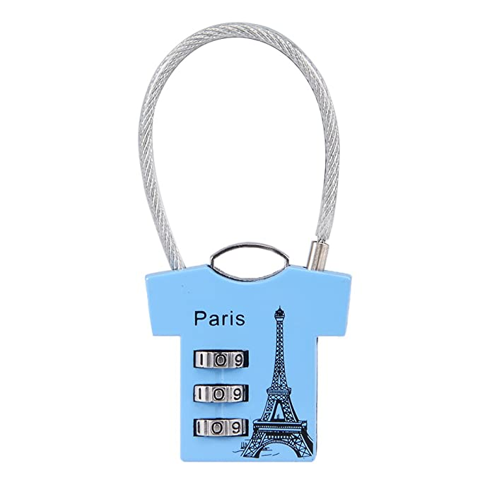 054bf86c4f16 uxcell 3 Digit Association Padlock, 3mm Wire Shackle, Zinc Alloy Luggage  Lock, Blue