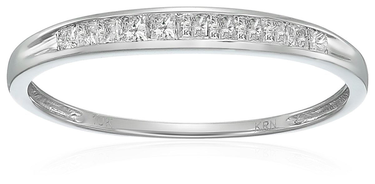 10k White Gold Princess Diamond Wedding Band (1/4 cttw,I-J Color, I2-I3 Clarity), Size 7