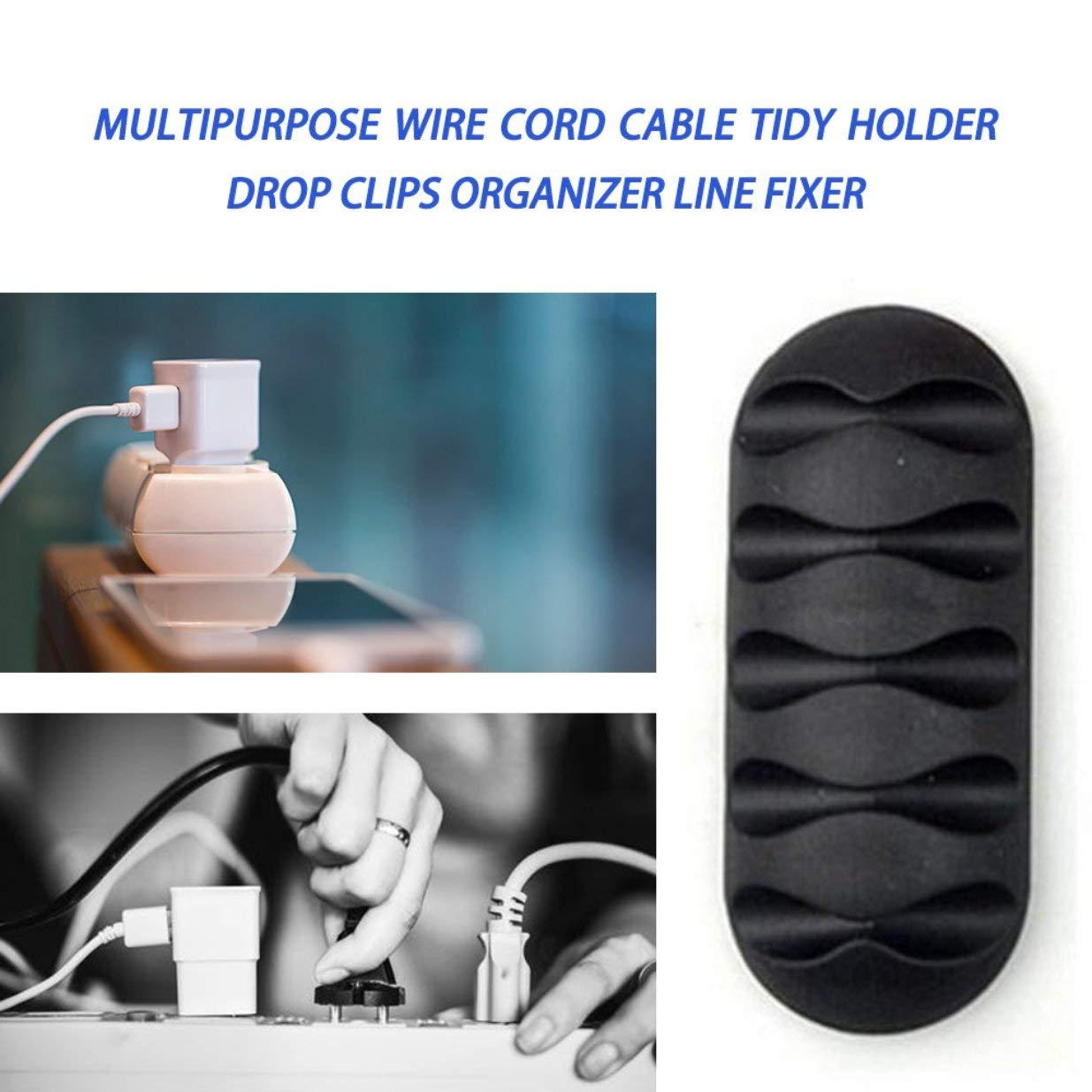 Cavo multifunzione Cavo a filo Tidy Holder Drop Clip Organizer Line Fixer Winder Cable Wire Organizer Clip Tidy Cord Holder Nero