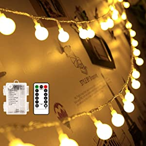 echosari [Remote & Timer] 16 Feet 50 LED Outdoor Globe String Lights 8 Modes Battery Operated Frosted White Ball Fairy Light(dimmable, Ip65 Waterproof, Warm White)
