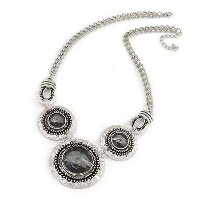 Avalaya Triple Circle With Light Grey Glass Stone Chunky Silver Tone Chain Necklace - 48cm L/6cm Ex bGRyH7cI