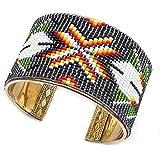 Handmade Men's Grey White Non Native Butterfly Beaded Cuff Bracelet B 53/4 6.5x1.5In Multi color