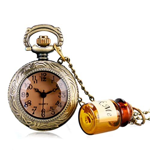 Vintage Real Glass Alice In Wonderland Watches Drink Me For Wishing Bottle Quartz Pocket Watch Necklace