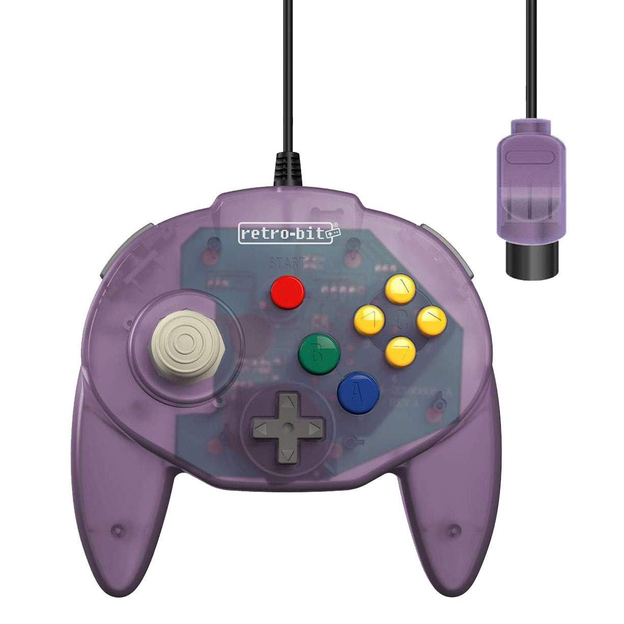 Retro-Bit Tribute 64 Wired N64 Controller for Nintendo 64 - Original Port - (Atomic Purple)