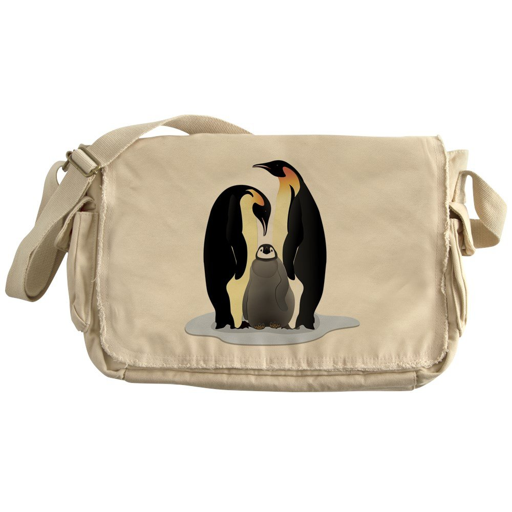 Truly Teague Khaki Messenger Bag Emperor Penguin Family Huddled Together