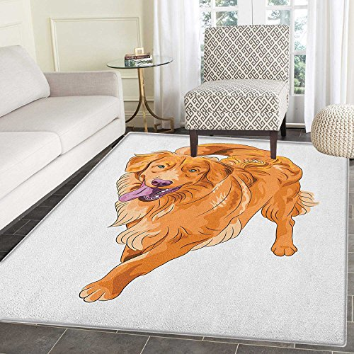Golden Retriever Area Silky Smooth Rugs Playful Dog Running with a Smiling Face Best Friend and Companion Floor Mat Pattern 4'x6' Orange Violet White 4' Golden Retriever Face