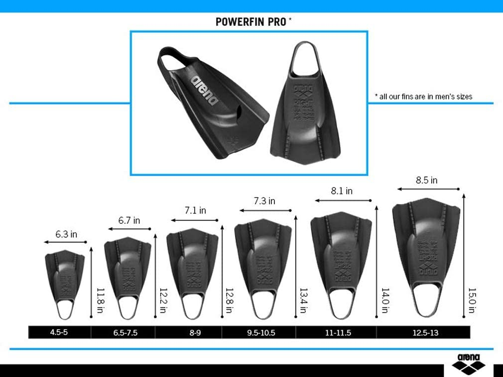 11-11.5 Arena Powerfin PRO Swim Training Fins Aqua Orange