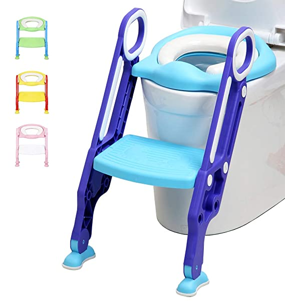 Soft, Red Yellow Adjustable Childrens Toilet Seat Potty Trainer with Ladder Potty Trainer for Children from 1-8 Years
