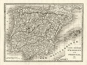 Iberia. España y Portugal en 1820 – 1820 – Old Antiguo Mapa Vintage – Juego de funda nórdica Mapas de Iberia: Amazon.es: Hogar