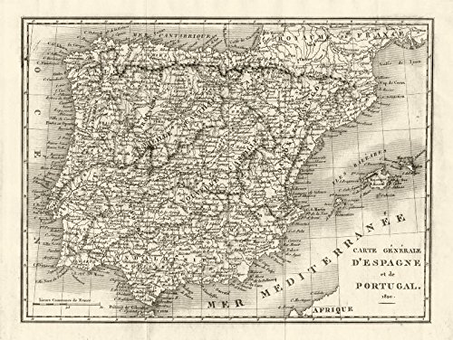IBERIA. Spain and Portugal in 1820-1820 - old map - antique map - vintage map - printed maps of Iberia