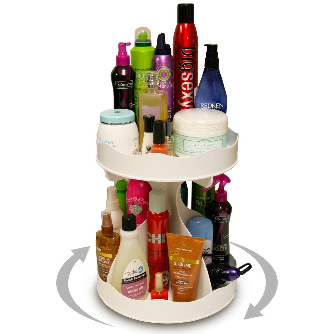 Cosmetic Organizer for Tall Bottles That Spins..no More Cluttered Countertop! Pretty in White, goes with Any Decor. Proudly Made in the USA ! by PPM.