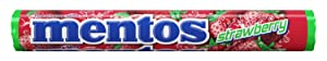 Mentos Chewy Mint Candy Roll, Strawberry, Non Melting, Stocking Stuffer, Gift, Holiday, Christmas, 1.32 ounce/14 Pieces