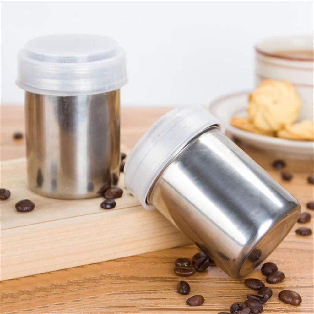 Edelstahl Pulver Dredges mit 16 Kaffee-Druckformen Mokka Cuppucino Latte Zubeh/ör Kuchen Drucken Kakaopulver und Girlande Formen mit 16 Mustern f/ür Latte