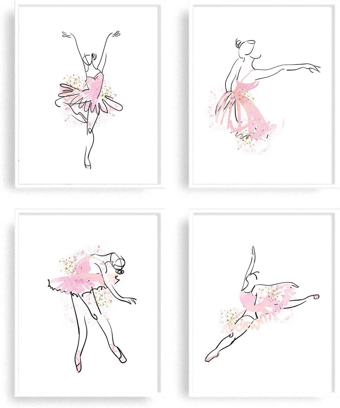 Ballerina wall decor for girls bedroom by KIU Designs - Set of 4 Art Prints of 8x10 Inch | ballet decorations for girls room | ballerina wall art | ballet wall decor | Teenage Girl Room Decor | dancer wall decor