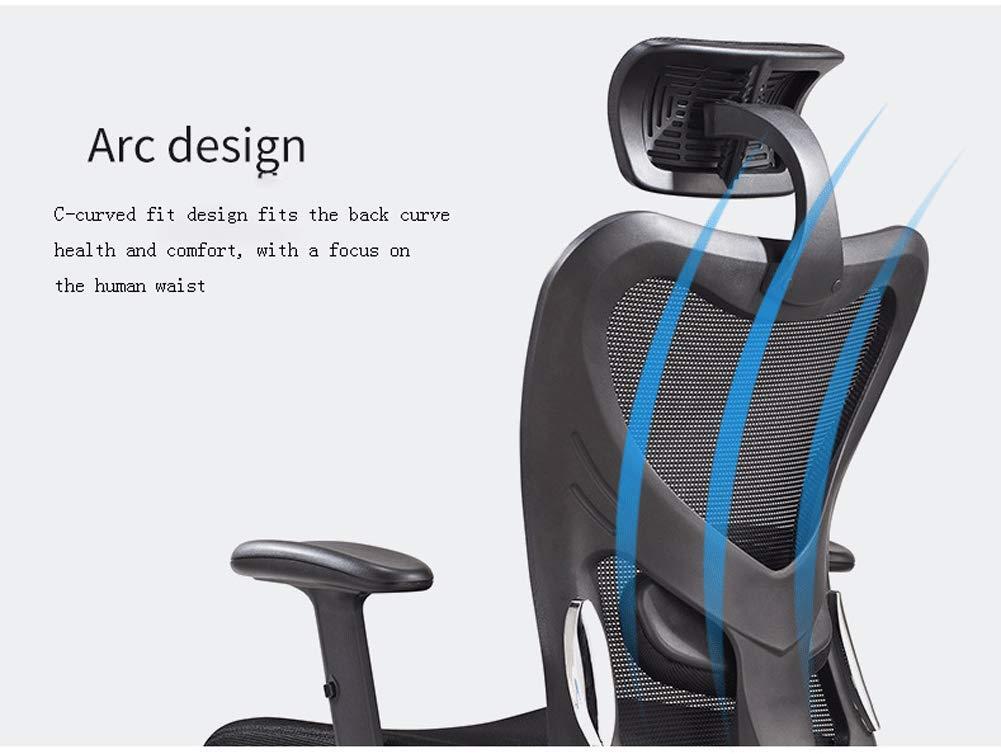 Ergonomisk kontorsstol, hög rygg mesh kontorsstol, justerbar sitthöjd, lutningsspänning, ländrygg stöd-svart apelsin