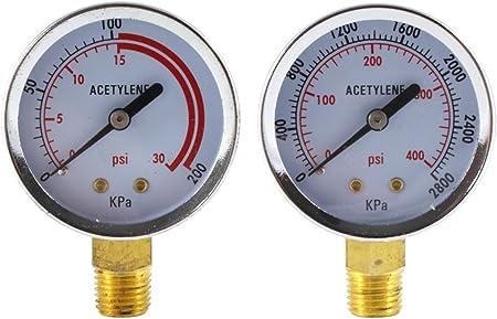 """2/"""" x 30 PSI /& 400 PSI Welding Regulator Repair Replacement Gauges For Acetylene"""