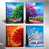 Nuolanart- 4 Seasons Modern Landscape 4 Panels Framed Canvas Print Wall Art, Ready to Hang -P4L3040X4-03 Picture