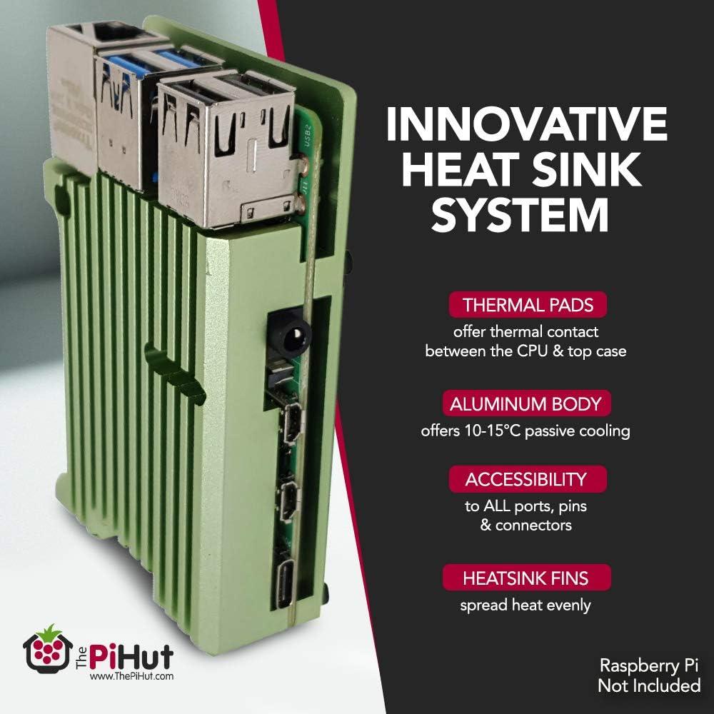 Raspberry Pi 4 Aluminium Armour Grey Heatsink Case for Raspberry Pi 4 Model B