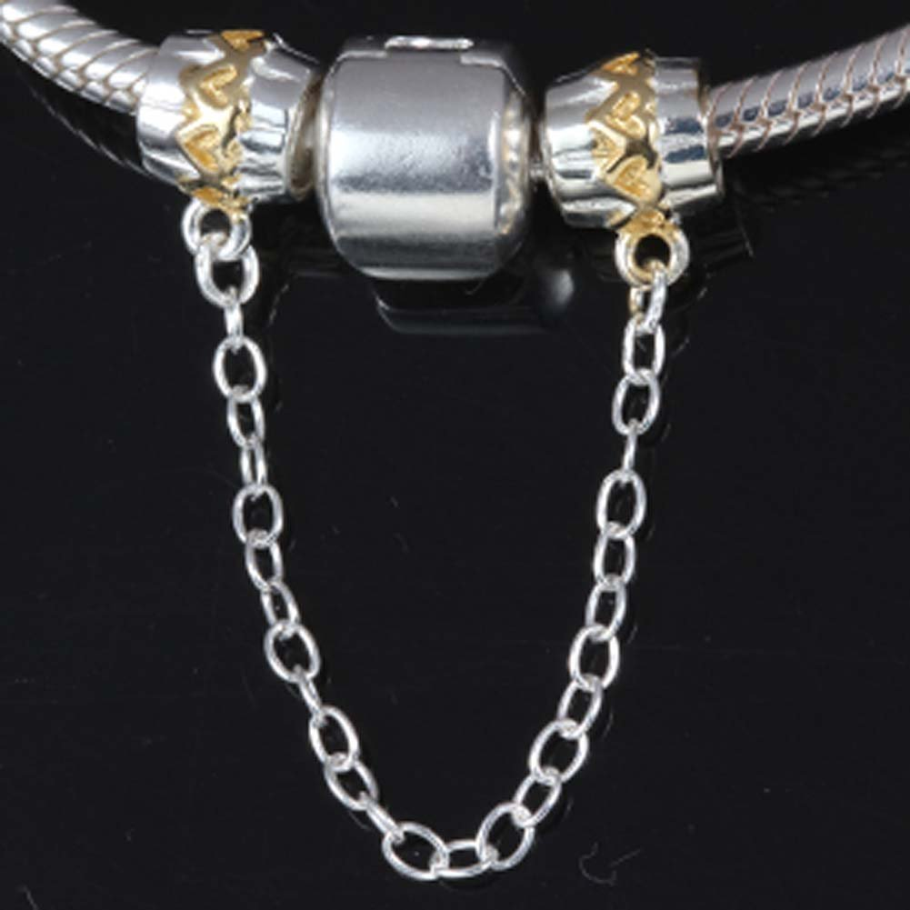 P Clasp Safety Chain Charm 925 Sterling Silver Clip Stopper Charm Spacer Charm for Bracelet