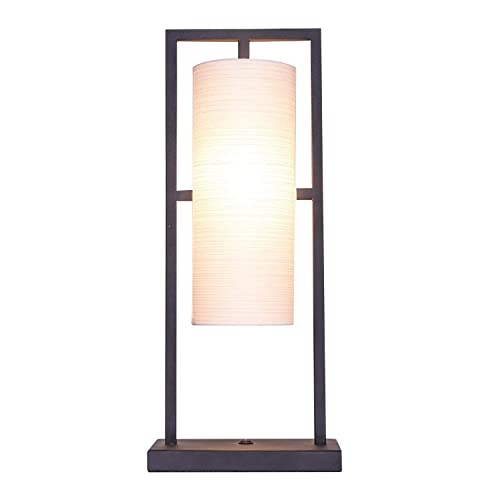 IJ INJUICY Table Light Japanese Style Desk Accent Lamp Cloth Lampshade for Hotel Big House Living Room Bedroom Bedside