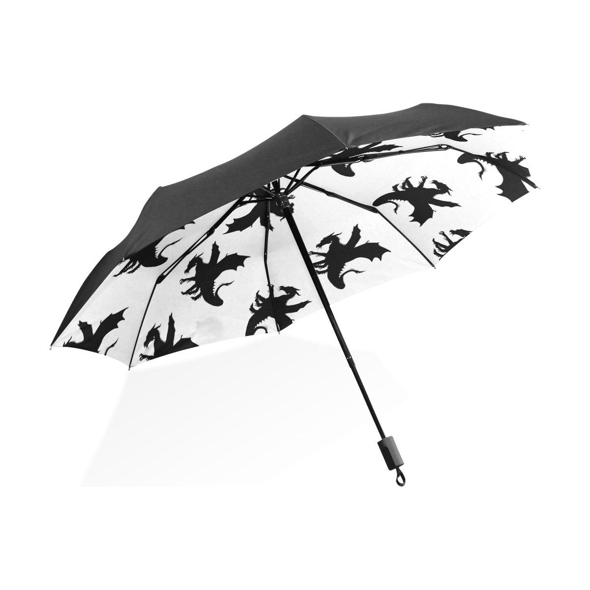 Florence Animal Dragon Patterns Foldable Sun-proof Umbrella Windproof Anti-UV Umbrella Compact Travel Portable Lightweight Sun Umbrella