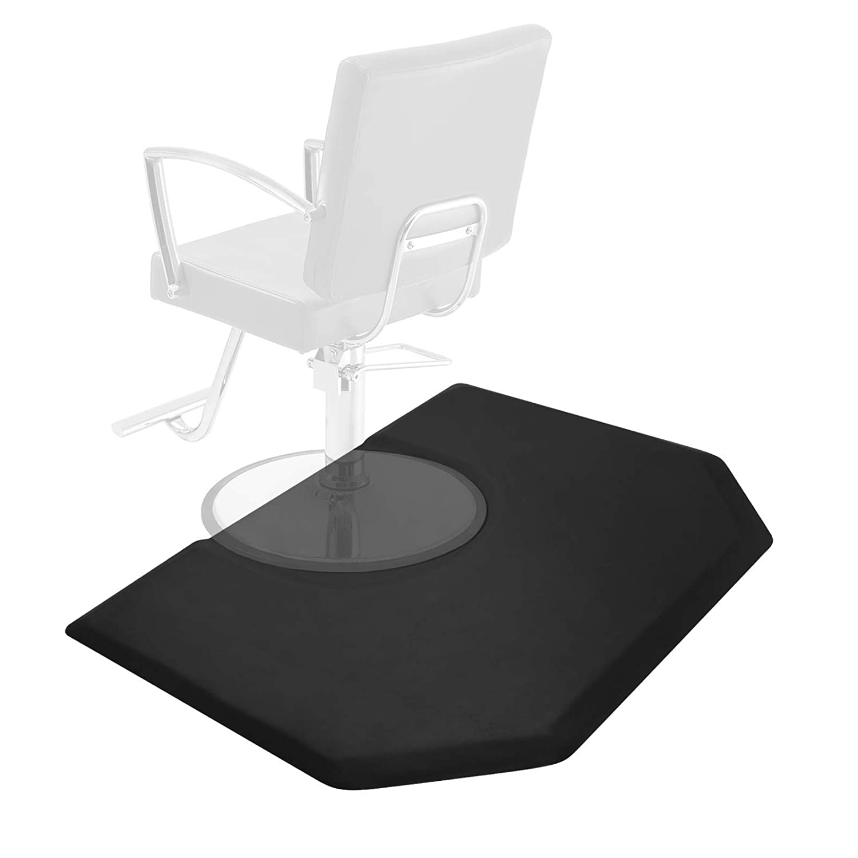 Saloniture 5 ft. x 4 ft. Salon & Barber Shop Chair Anti-Fatigue Mat - Black Hexagon - 1 in. Thick