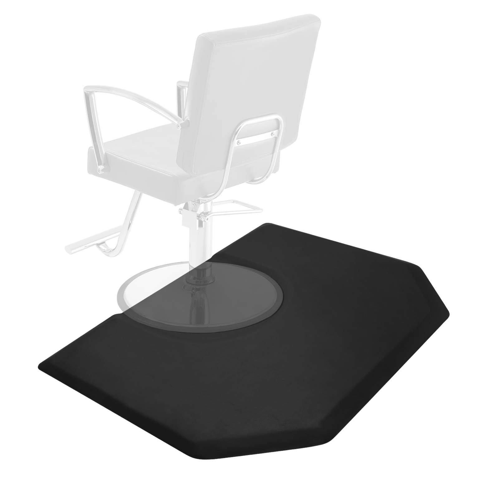 Saloniture 5 ft. x 4 ft. Salon & Barber Shop Chair Anti-Fatigue Mat - Black Hexagon - 1 in. Thick by Saloniture