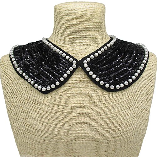 Handmade Sequin and Faux Pearl Embroidery Peter Pan Collar Piece For Wedding Bridal Accessory Clothing DIY Supply