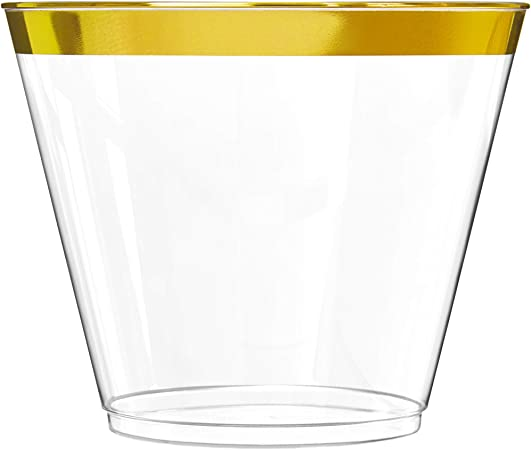 100 Gold Plastic Cups 16 Oz Clear Plastic Cups Tumblers Gold Rimmed Cups Fancy