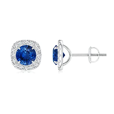Angara Vintage Inspired Four-Prong Blue Sapphire Stud Earrings in Platinum 0sJFDrGn4q